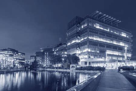 modern office building in Hong Kong city at dusk