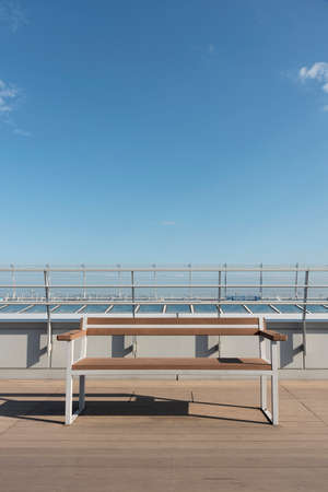 empty deck on deck with blue sky background