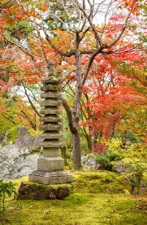 Stone Pagoda in Arashiyama, Kyoto, Japan in Autumn season