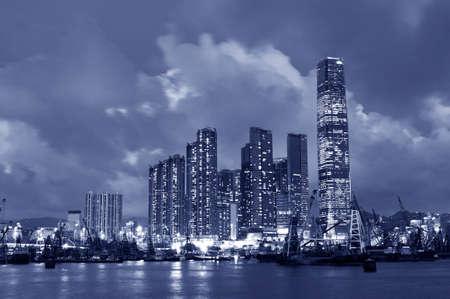 Skyline of Victoria Harbor of Hong Kong city at night
