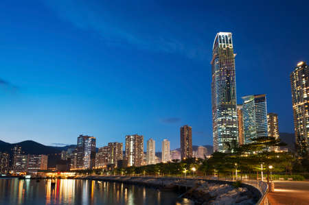 Skyline of midtown of Hong Kong city at dusk