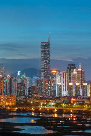 Night scenery of skyline of Shenzhen city, China. Viewed from Hong Kong border