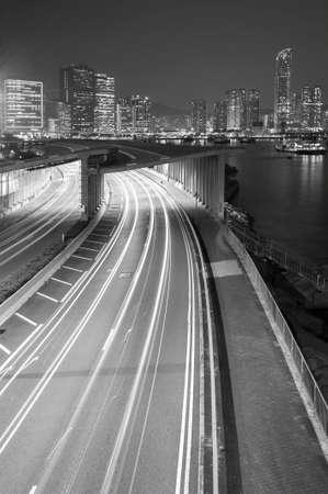 Night traffic in urban area of Hong Kong city