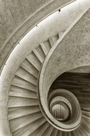 Modern spiral staircase. Contemporary architecture abstract background Foto de archivo