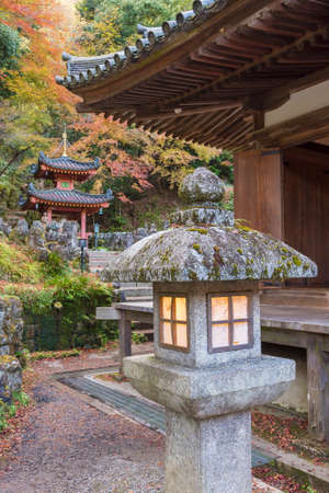 Lantern and Pavilion in Temple in Arasashiyama, kyoto, Japan Editorial