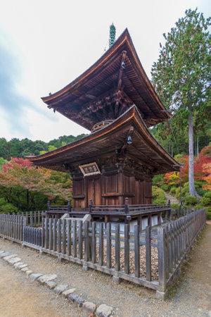 wooden pagoda in Jojakko-ji Temple, Kyoto, Japan in autumn season