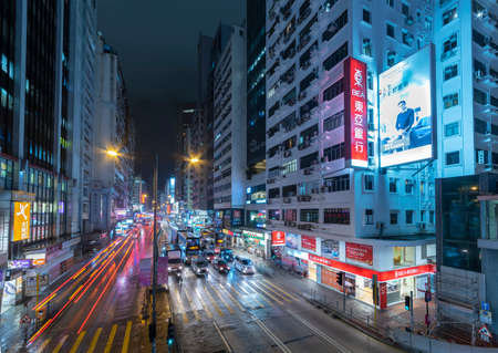 Hong Kong, China - October 07, 2021 : Traffic in Mongkok District in Hong Kong. Mongkok in Kowloon Peninsula is the most busy and overcrowded district in Hong Kong