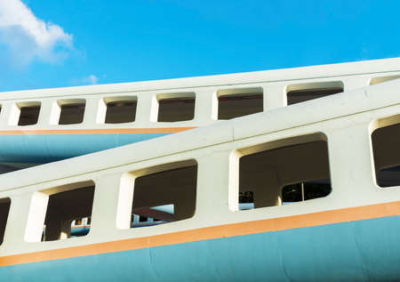Exterior of foot bridge. Building abstract background