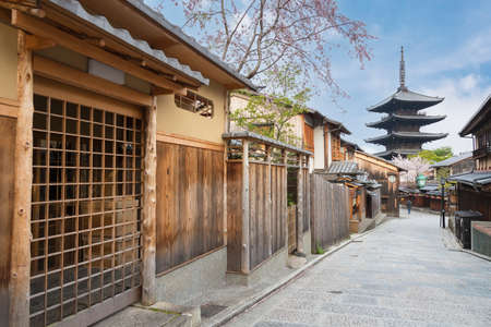Empty street in historical city Kyoto, Japan Editorial
