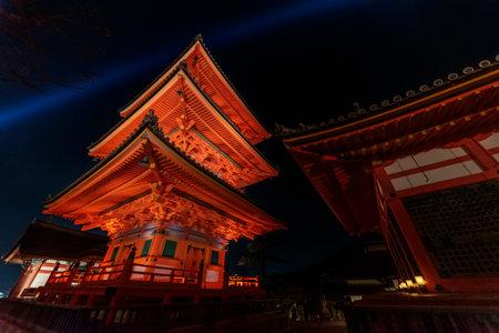Historical pagoda tower in Kiyomizu Temple in Kyoto, Japan