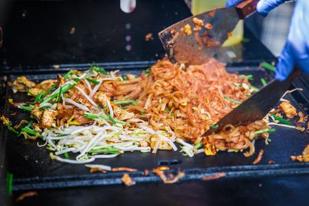Pad Thai cooking. street food