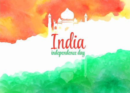 bandera de la india: fondo de la acuarela para el día de independencia de la India. Antecedentes de la acuarela estilizado dibujo de la bandera de la India y contener imágenes de palacio y palmeras indias.
