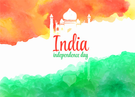 india culture: watercolor background for Indian independence day. Background of stylized watercolor drawing the flag of India and contain images of Indian palace and palm trees.