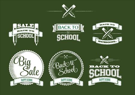 学校に戻って書道デザイン レトロなスタイル要素ヴィンテージ装飾品販売、クリアランス設定にラベルを付ける