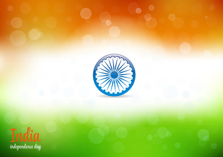 red indian: Indian Independence Day Abstract  Background. Background of stylized Watercolor drawing the flag of India and contain Bokeh lights.