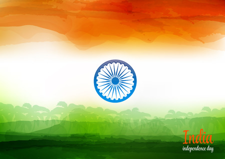 indian flag: Indian Independence Day Watercolor Background. Background of stylized Watercolor drawing the flag of India and contain images of palm trees.
