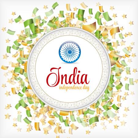 independencia: D�a de la Independencia de la India confeti de colores sobre fondo blanco con. Firmar con Estrellas y marco de la vendimia