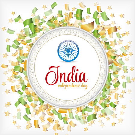 independence day: India Independence Day Confetti Colorful on White Background with. Sign with Stars and Vintage Frame