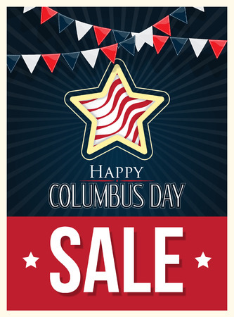 columbus: Columbus Day Sale Vector Poster Background