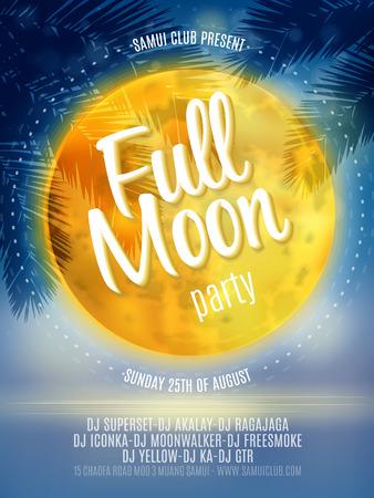 noche y luna: Flyer Beach Party de Luna Llena. Diseño vectorial