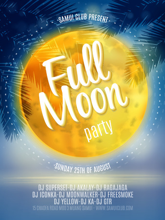 beach sunset: Full Moon Beach Party Flyer. Vector Design