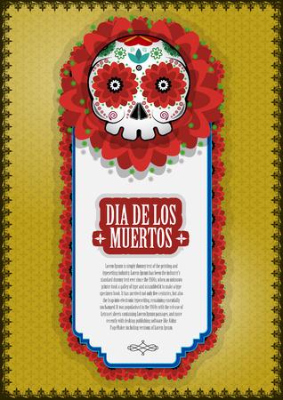 dia de muerto: Día del cartel de fondo muerta del cráneo del vector.