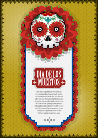 Day Of The Dead Skull Vector poster background. Фото со стока - 46320118