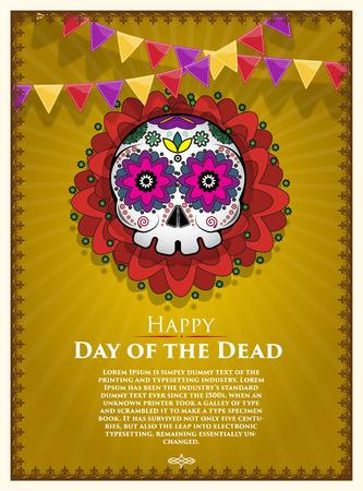 Day Of The Dead Skull Vector poster background. Dia de los muertos