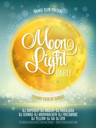thai dance: Full Moon Beach Party Flyer. Vector Design