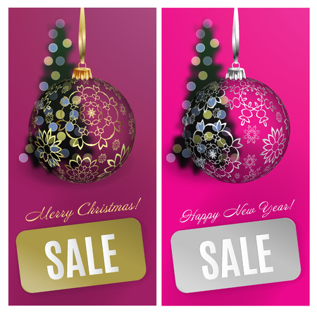 Vector Christmas card set sale background with ball, stripe, blurred christmas tree. Vector EPS10