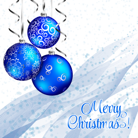 christmassy: Christmas Vintage Card. Vector Blue Background with Blue Balls, Snowflakes and Silver Stripes