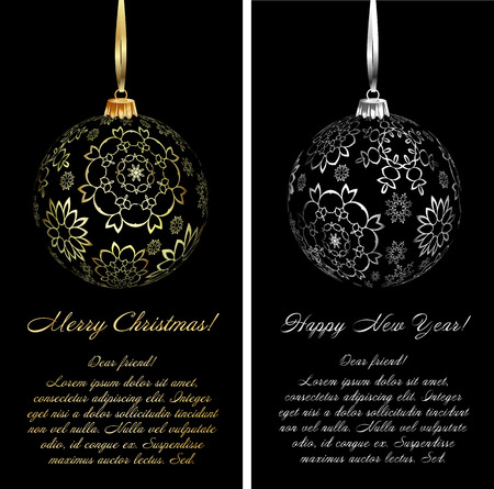 black satin: Luxury Christmas card background with ornaments. Vector Illustration.