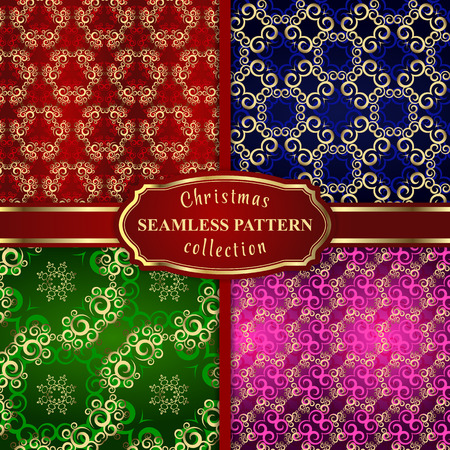 gold snowflakes: Christmas seamless pattern vector set background  from gold snowflakes and shapes ornaments on red, blue, green and pink background for wrapping paper ,textile or card Illustration