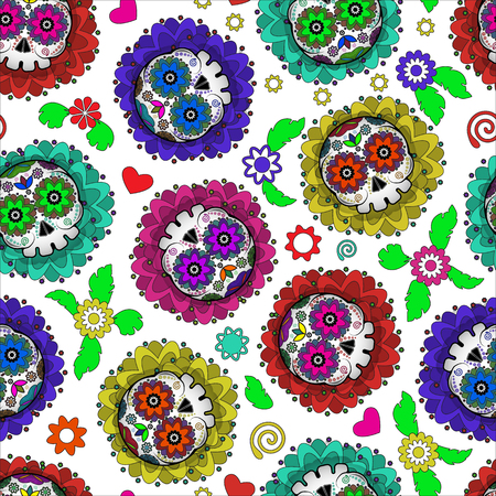Day of Dead Mexico vector seamless pattern with skull and flowers. Dia de los muertos