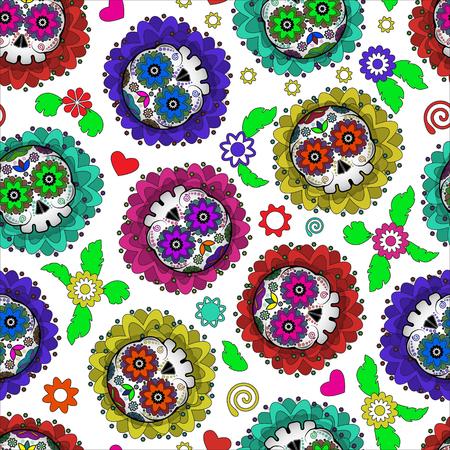 dia de muerto: Día de Muertos México vector sin patrón con el cráneo y las flores. Día de los Muertos Vectores