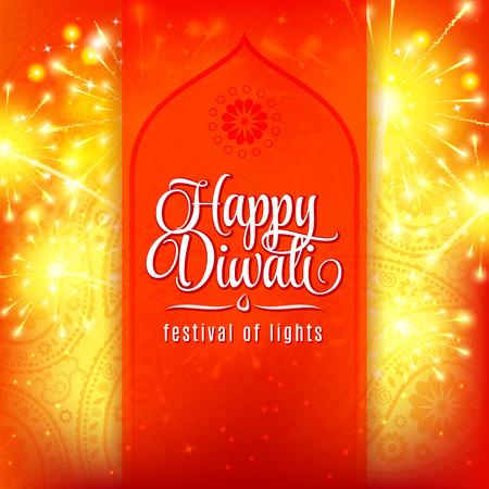 Happy Diwali festival of lights. Fireworks on orange background with ornament