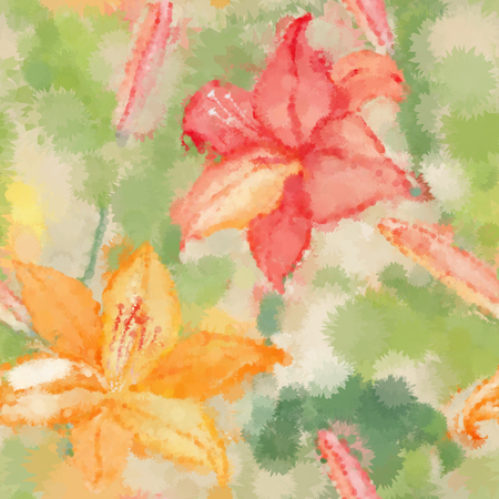 white lilly: Floral seamless wallpaper in watercolor style with lily Illustration