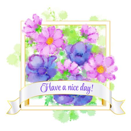 motivator: Card with sakura blossom and colibri
