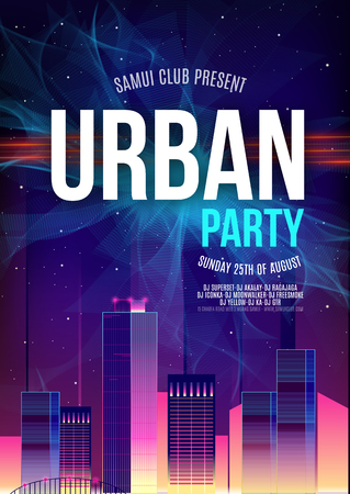 Urban Dance Party Poster Background Template - Vector Illustration