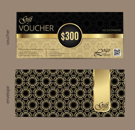 invitation card: Ilustraci�n del vector, plantilla bono regalo con el modelo limpio y moderno.