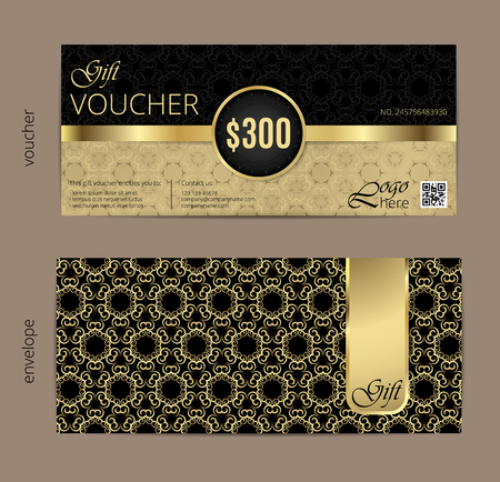 Vector illustration,Gift voucher template with clean and modern pattern. Иллюстрация