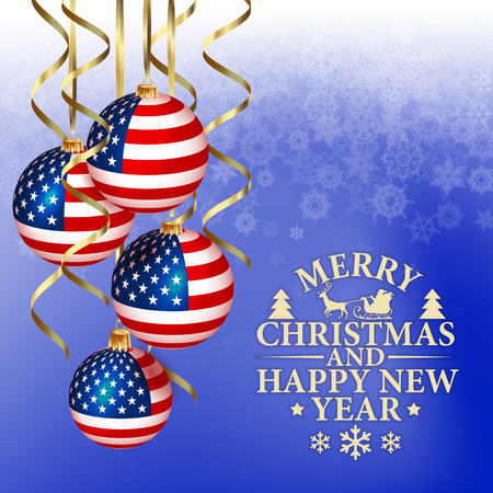 patriotic american: vector abstract Christmas background with patriotic elements Illustration