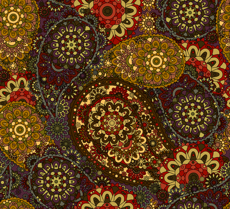 oriental vector: Vector Seamless Oriental Pattern. Colorful Ethnic Paisley.