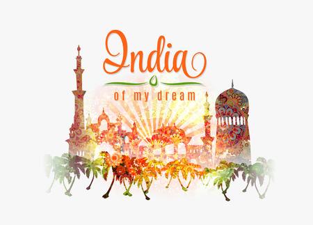 portones: Ilustraci�n de la India en el chapoteo del color de fondo de flores de azafr�n y verde en colores de la bandera tradicionales.