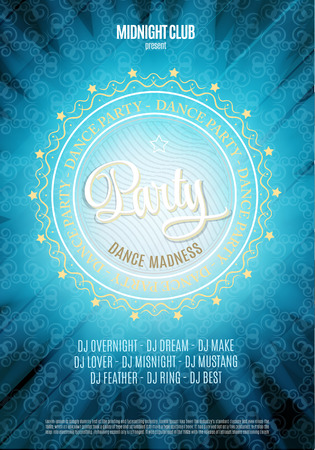 party dj: Fiesta de baile, cartel y folleto fondo. En colores azul