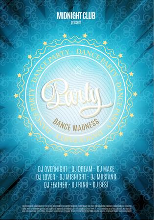 fiesta dj: Fiesta de baile, cartel y folleto fondo. En colores azul
