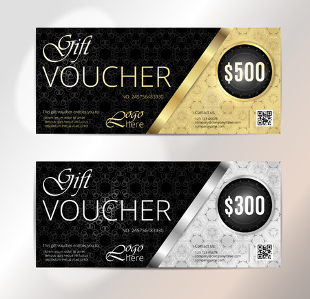 gift: Voucher, Gift certificate, Coupon template. Floral, scroll pattern. Background design for invitation, ticket, cheque. Black, gold vector