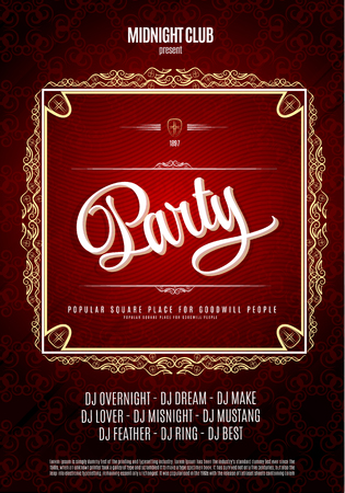 Dance party, poster and flyer background.  In red colors Фото со стока - 47832235