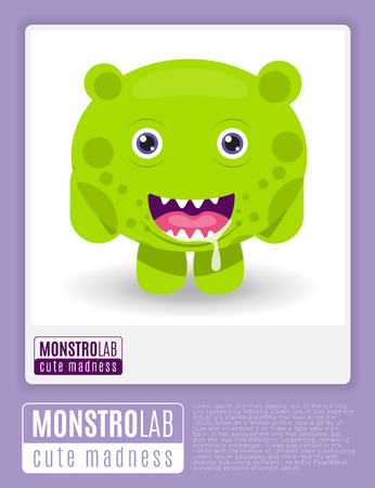 the centaur: Monstrolab. Cute Madness. Vector picture of cartoon cute monster in frame