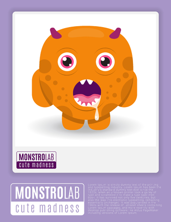 madness: Monstrolab. Cute Madness. Vector picture of cartoon cute monster in frame